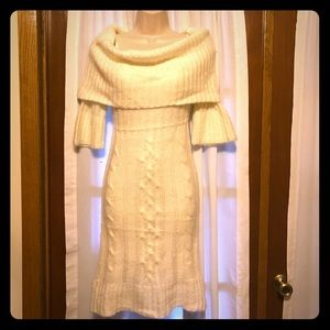 Cowl neck cable knit Sweater dress